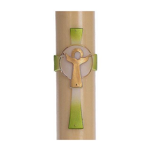 Osterkerze mit EINLAGE auferstanden Christus grünen Kreuz 8x120cm Bienenwachs