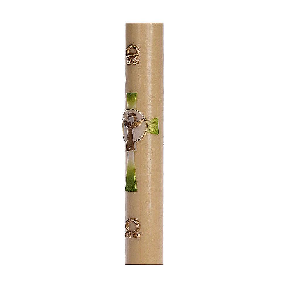 Cero pasquale cera d'api RINFORZO Croce Risorto verde 8x120 cm 3