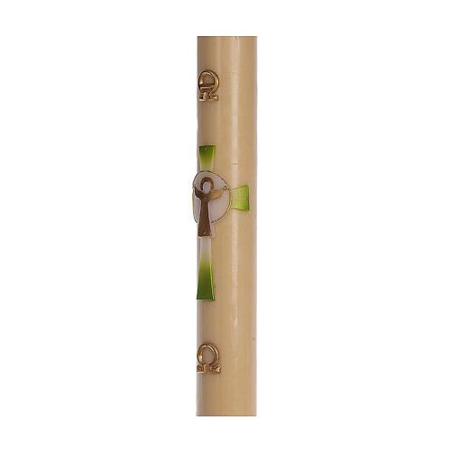 Cero pasquale cera d'api RINFORZO Croce Risorto verde 8x120 cm 4