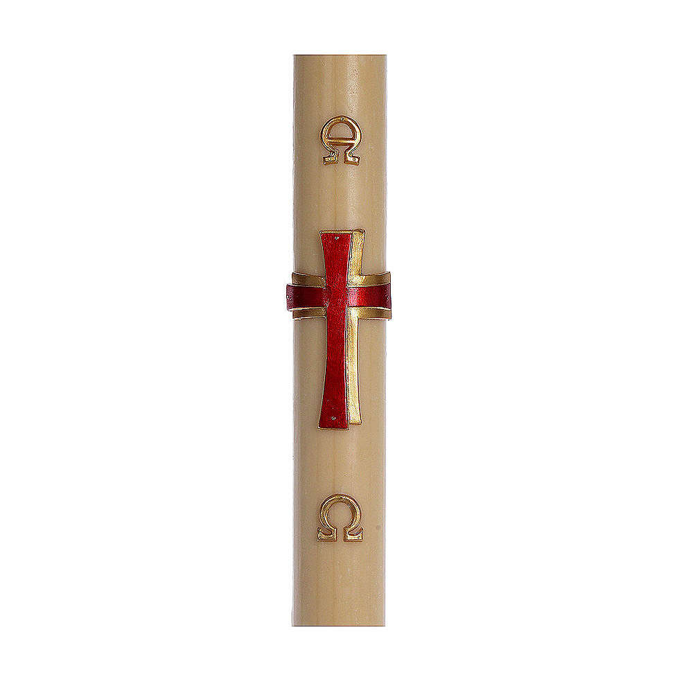 Cierge pascal cire d'abeille RENFORT Croix relief rouge 8x120 cm 3