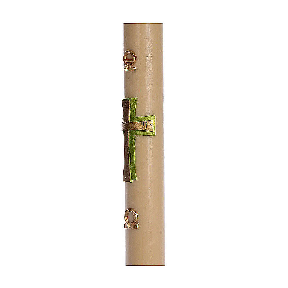 Cierge pascal cire d'abeille RENFORT Croix relief vert 8x120 cm 3