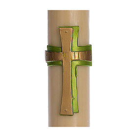 Cierge pascal cire d'abeille RENFORT Croix relief vert 8x120 cm s2