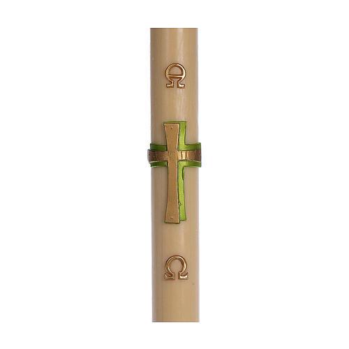 Cierge pascal cire d'abeille RENFORT Croix relief vert 8x120 cm 1