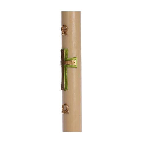 Cierge pascal cire d'abeille RENFORT Croix relief vert 8x120 cm 4