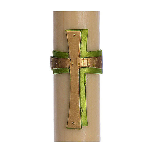 Paschal candle in beeswax with support and Green cross in relief 8x120cm 2