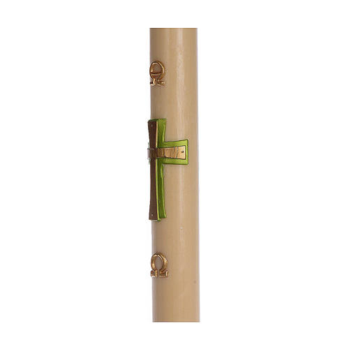 Paschal candle in beeswax with support and Green cross in relief 8x120cm 4