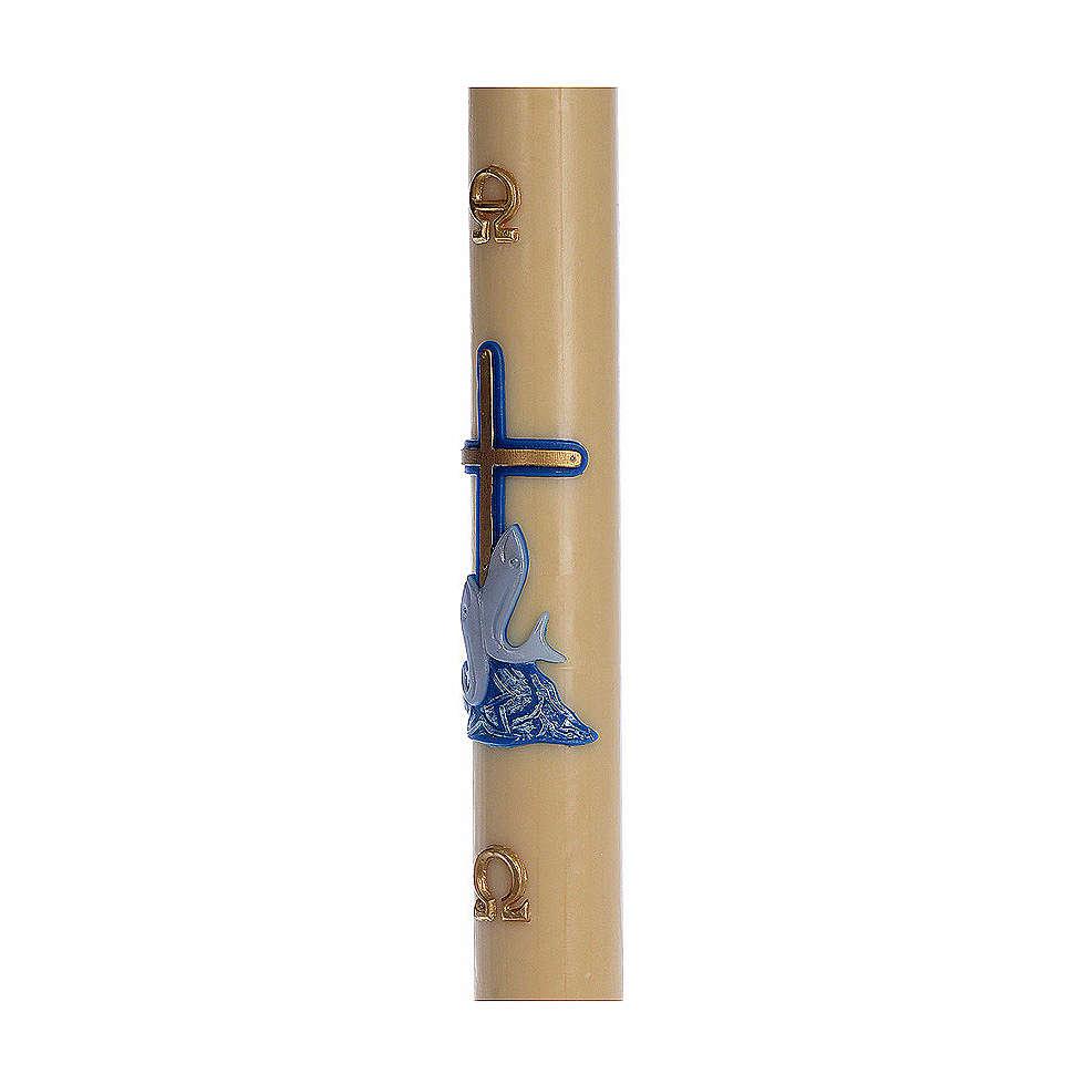 Cierge pascal cire d'abeille RENFORT Croix poissons bleu 8x120 cm 3