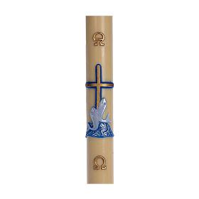 Cierge pascal cire d'abeille RENFORT Croix poissons bleu 8x120 cm s1