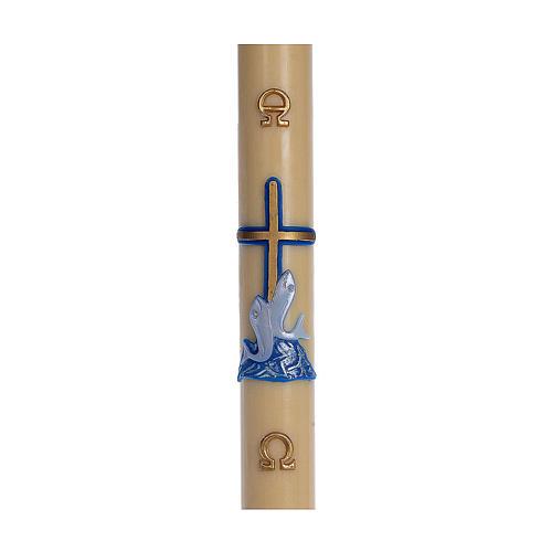 Cierge pascal cire d'abeille RENFORT Croix poissons bleu 8x120 cm 1
