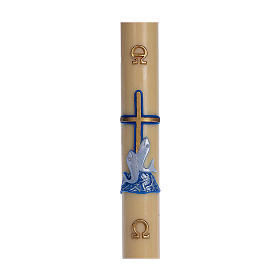 Cero pasquale cera d'api RINFORZO croce pesci blu 8x120 cm s1