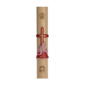Cero pasquale cera d'api RINFORZO croce pesci rossa 8x120 cm s1