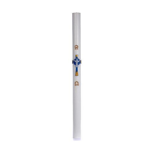 Osterkerze mit EINLAGE auferstanden Christus hellblauen Kreuz 8x120cm 3