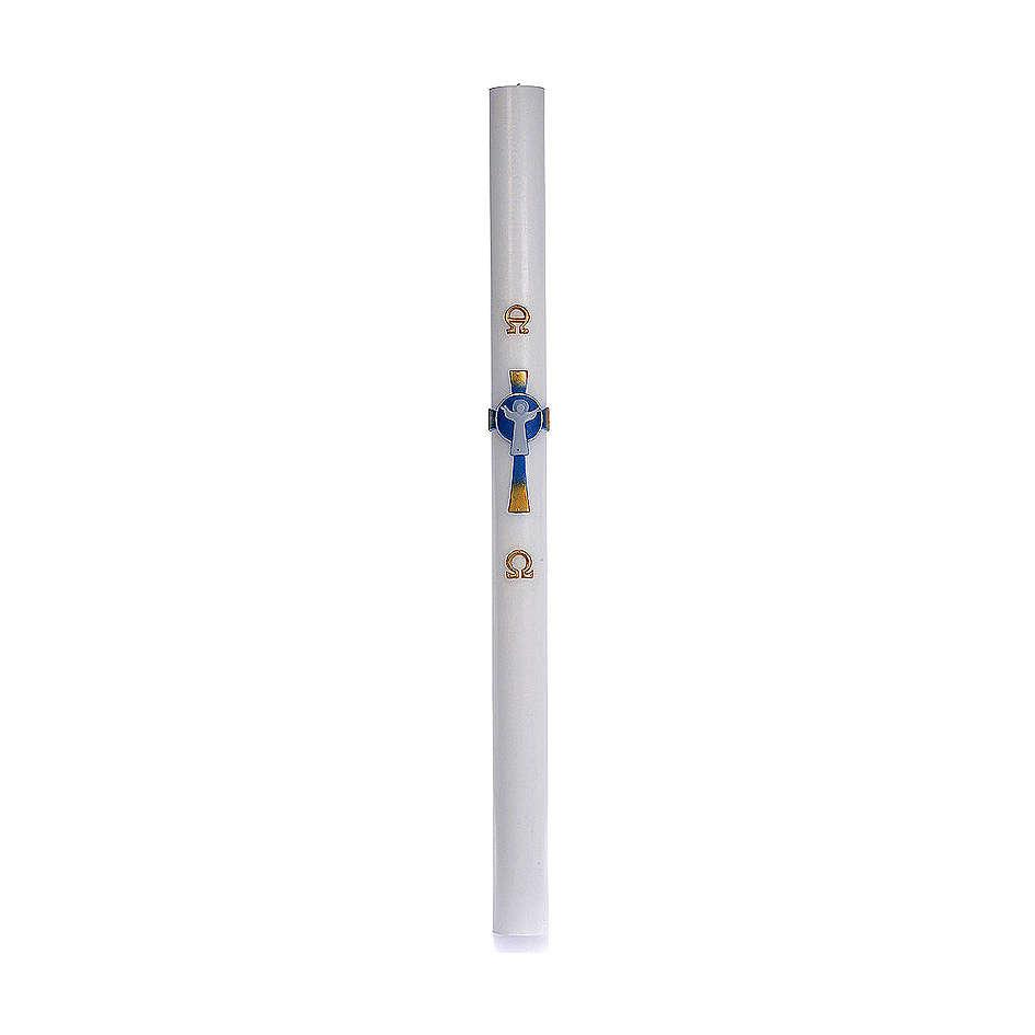 Cero pasquale cera bianca RINFORZO Croce Risorto azzurro 8x120 cm 3