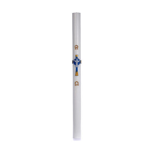 Paschal candle in white wax with support and light blue Christ 8x120cm 3