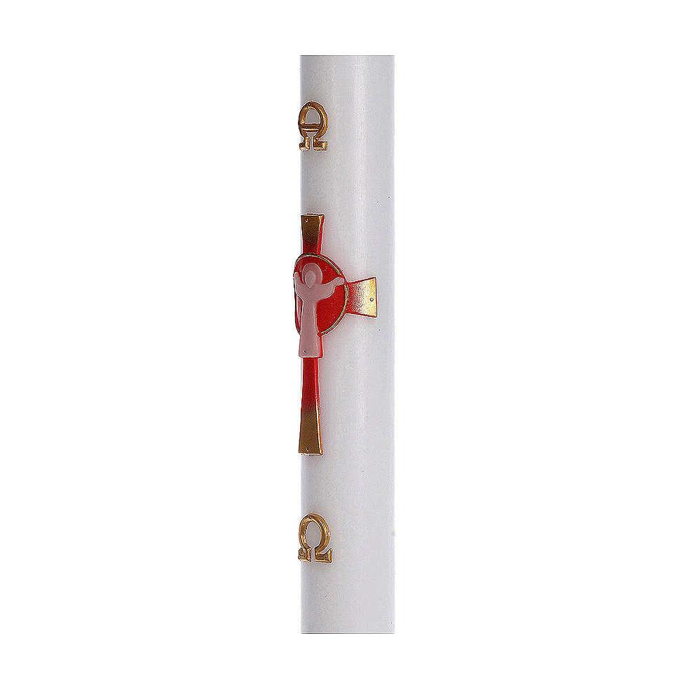 Cierge pascal cire blanche RENFORT Croix Ressuscité rouge 8x120 cm 3