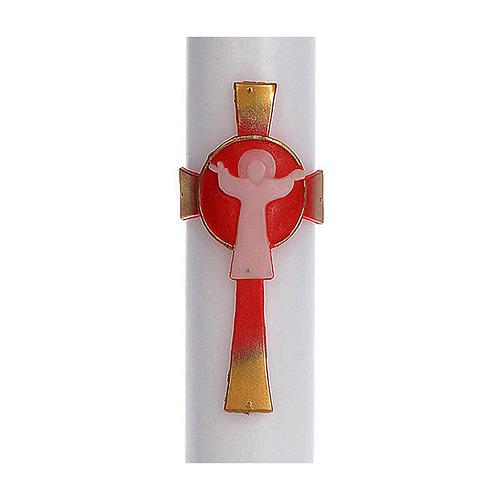 Cierge pascal cire blanche RENFORT Croix Ressuscité rouge 8x120 cm 2