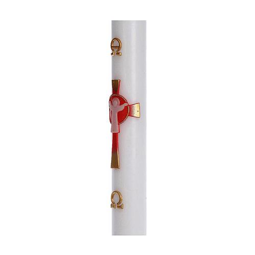 Cierge pascal cire blanche RENFORT Croix Ressuscité rouge 8x120 cm 4