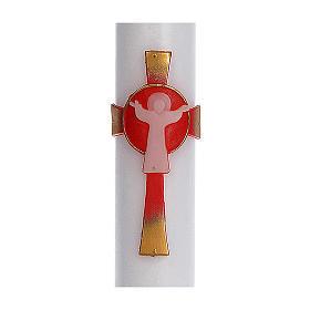Cero pasquale cera bianca RINFORZO Croce Risorto rosso 8x120 cm s2