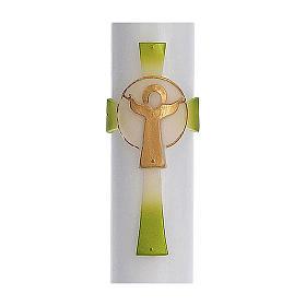 Cierge pascal cire blanche RENFORT Croix Ressuscité vert 8x120 cm s2