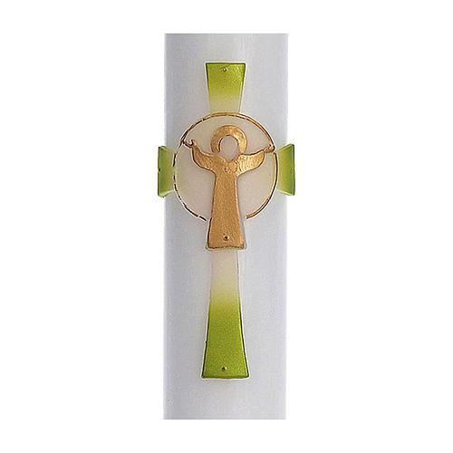 Cierge pascal cire blanche RENFORT Croix Ressuscité vert 8x120 cm 2