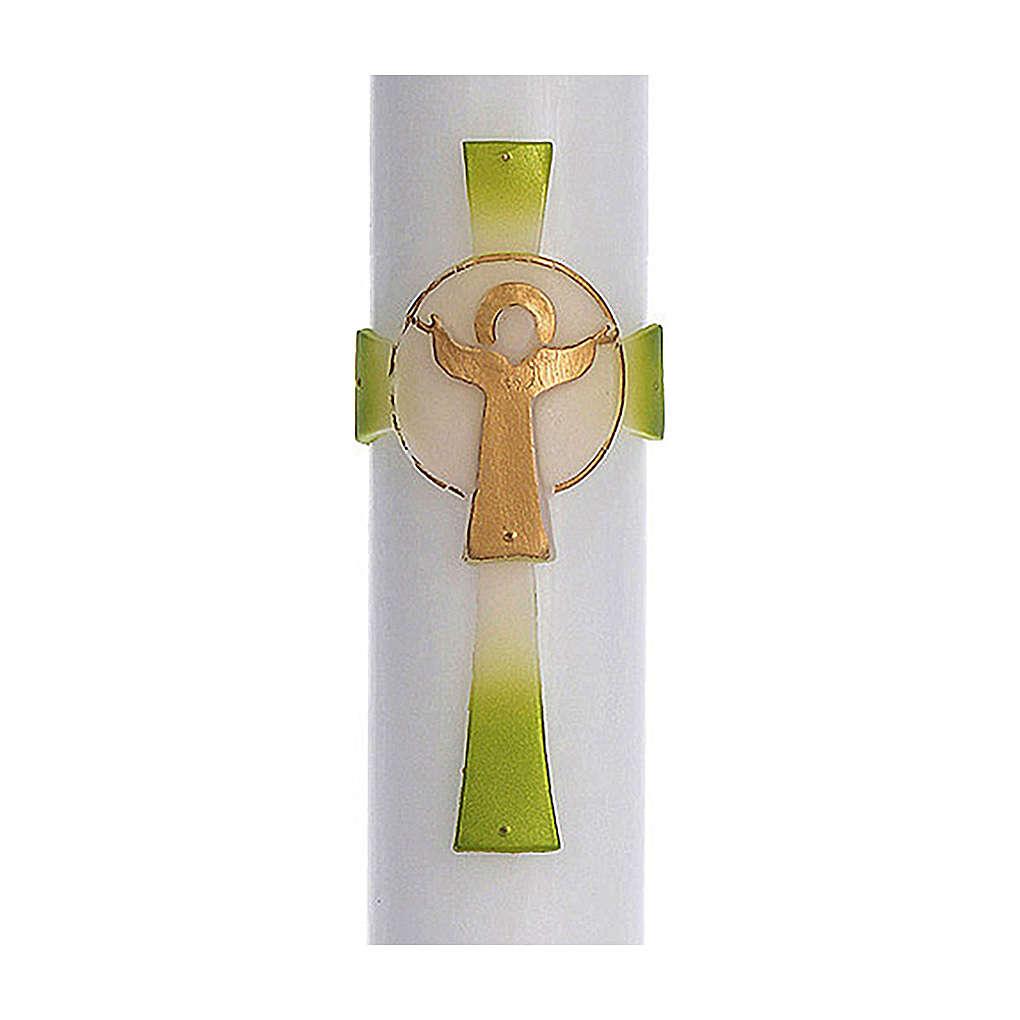 Cero pasquale cera bianca RINFORZO Croce Risorto verde 8x120 cm 3
