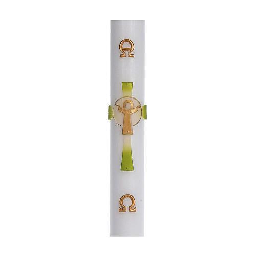 Cero pasquale cera bianca RINFORZO Croce Risorto verde 8x120 cm 1