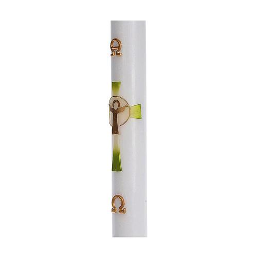 Cero pasquale cera bianca RINFORZO Croce Risorto verde 8x120 cm 4