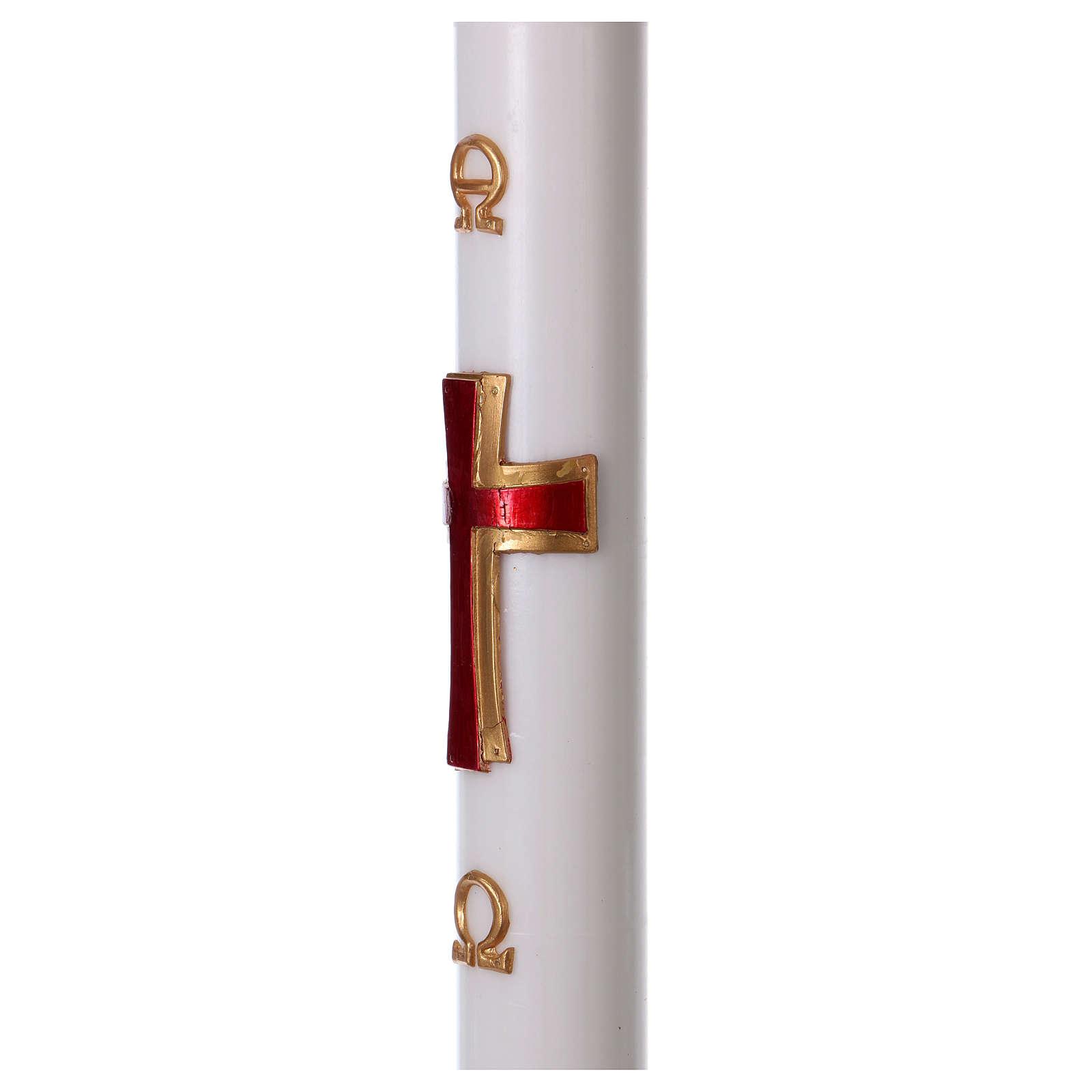 Cierge pascal cire blanche RENFORT Croix relief rouge 8x120 cm 3