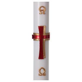Bougies, cierges, chandelles: Cierge pascal cire blanche RENFORT Croix relief rouge 8x120 cm