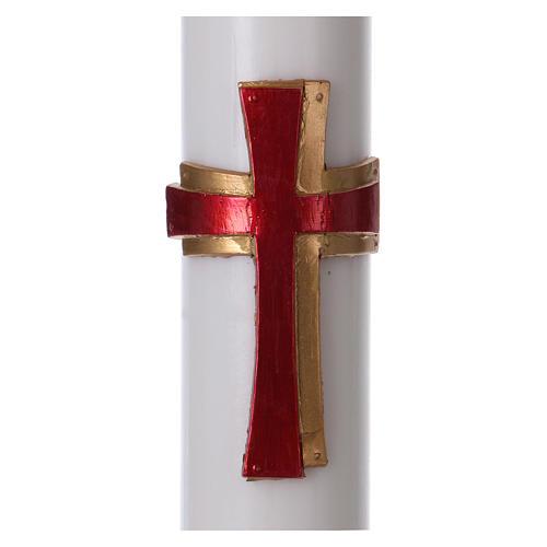 Cierge pascal cire blanche RENFORT Croix relief rouge 8x120 cm 2