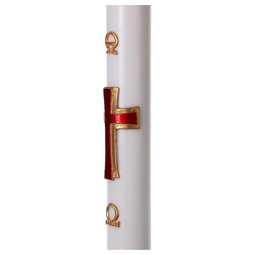 Cierge pascal cire blanche RENFORT Croix relief rouge 8x120 cm 4