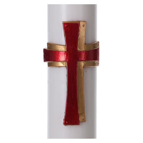 Paschal Candle in Paraffin wax REINFORCED Relief Red Cross 8x120 cm 2