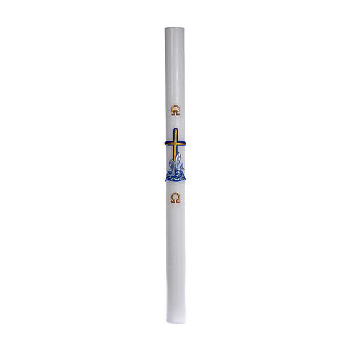 Cierge pascal cire blanche RENFORT Croix poissons bleu 8x120 cm 3
