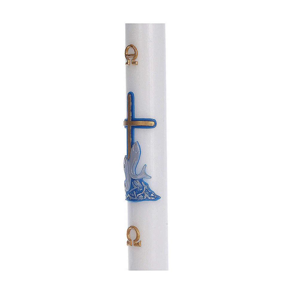 Cero pasquale cera bianca RINFORZO croce pesci blu 8x120 cm 3