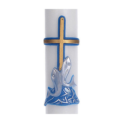 Cero pasquale cera bianca RINFORZO croce pesci blu 8x120 cm 2