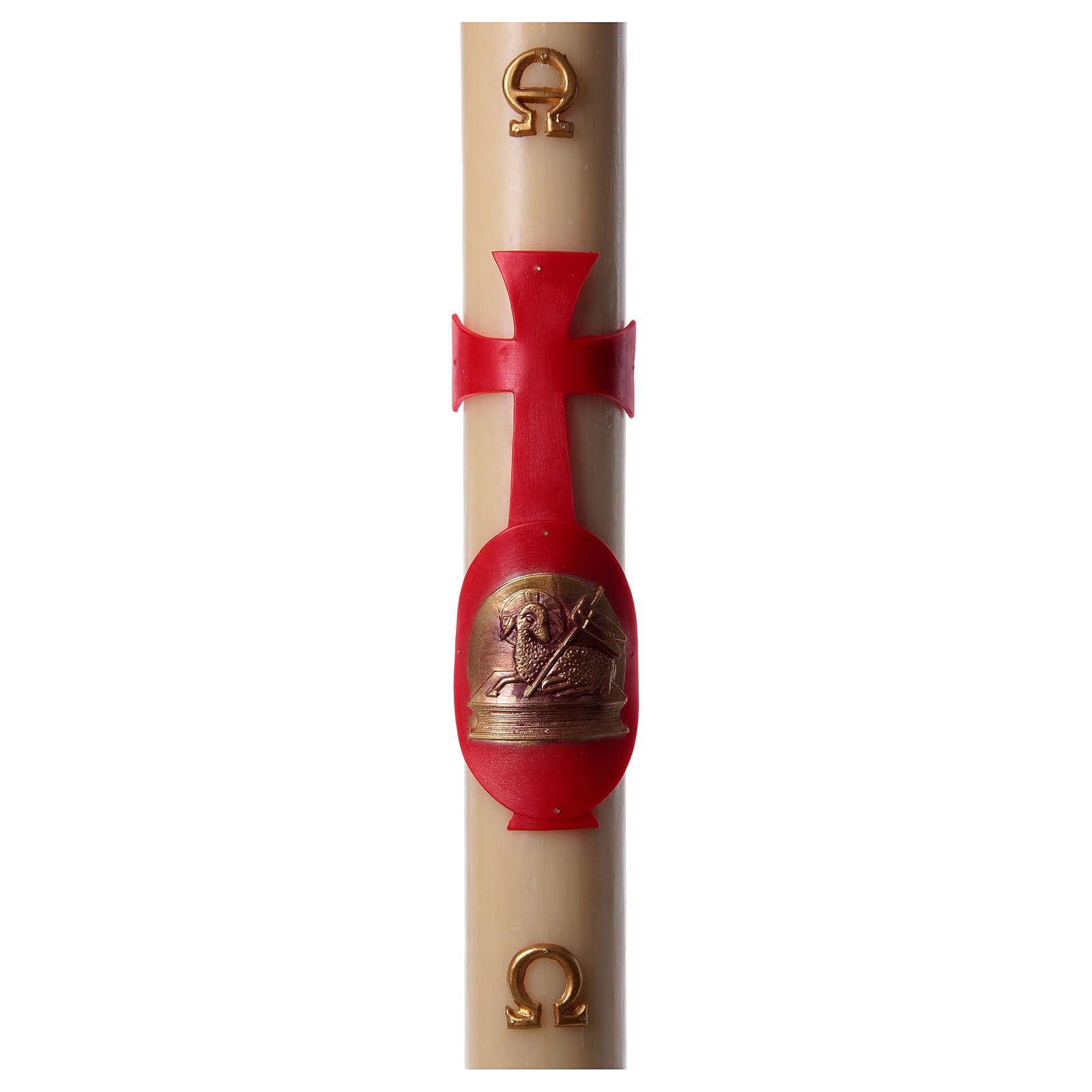 Cierge pascal cire abeille agneau avec livre rouge 8x120 cm 3