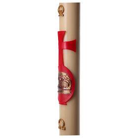 Cierge pascal cire abeille agneau avec livre rouge 8x120 cm s5