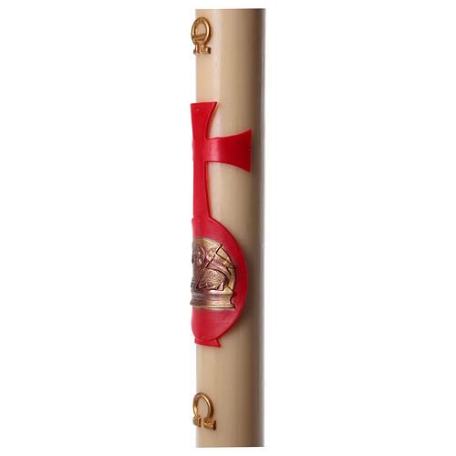 Cierge pascal cire abeille agneau avec livre rouge 8x120 cm 5