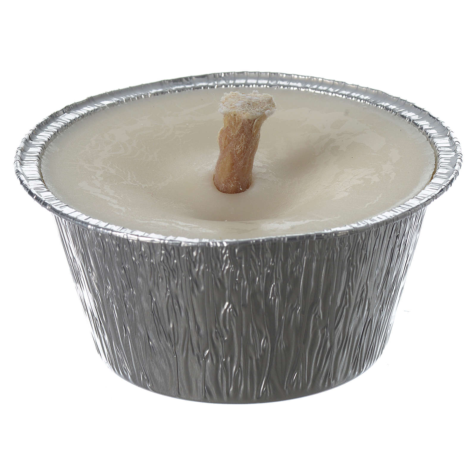 Small white candle with holder in aluminium foil 3