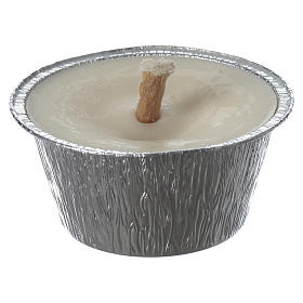 Small white candle with holder in aluminium foil s1