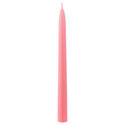 Candela Conica Lucida Ceralacca h. 25 cm rosa 1