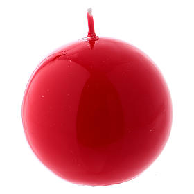 Candles, large candles: Glossy Ball Candle, Ceralacca d. 5 cm in red