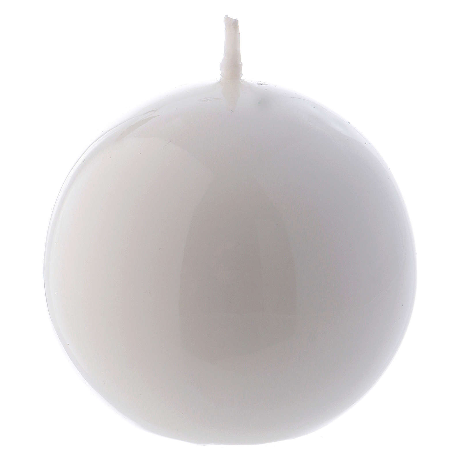 Vela Esfera Lúcida Lacre d. 6 cm blanca 3