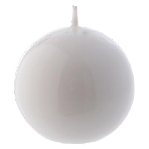 Vela Esfera Lúcida Lacre d. 6 cm blanca 1