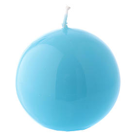 Ceralacca spherical light blue wax candle, diameter 6 cm s1