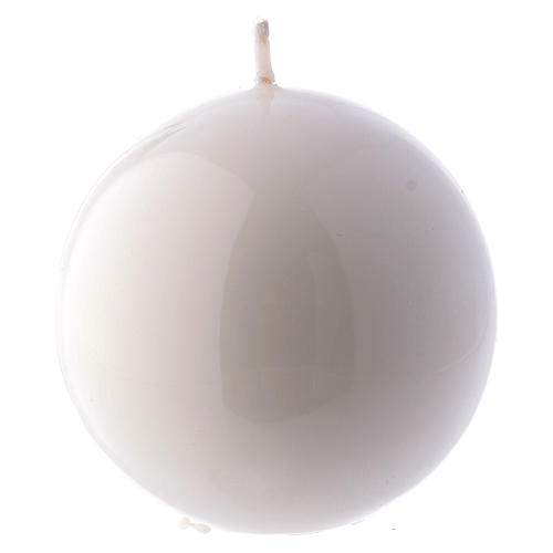 Candela Sfera Lucida Ceralacca d. 8 cm bianco 1