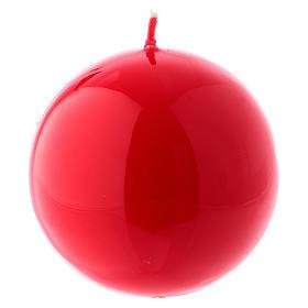 Bougies, cierges, chandelles: Bougie Sphère Brillante Ceralacca diam. 8 cm rouge