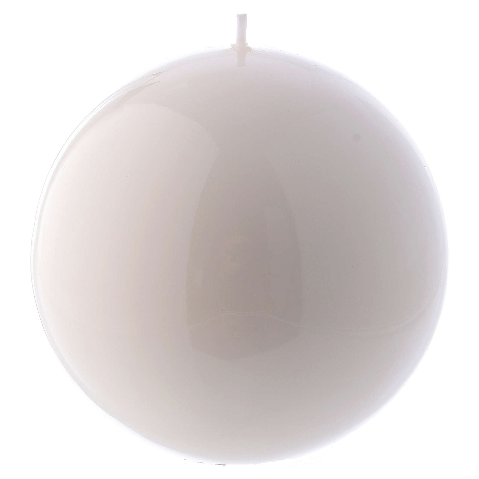 Vela Esfera Lúcida Lacre d. 12 cm blanca 3