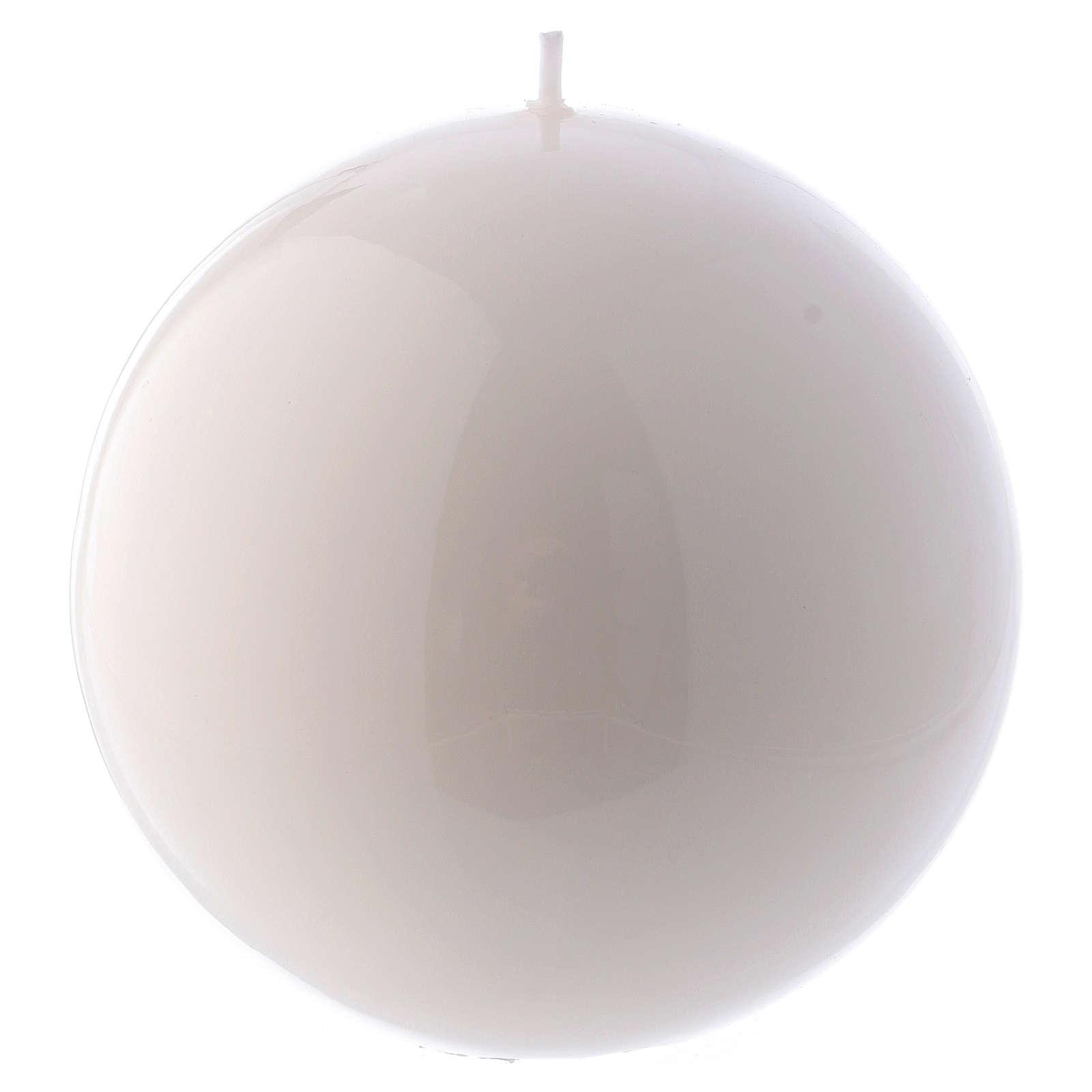 Bougie Sphère Brillante Ceralacca diam. 12 cm blanche 3