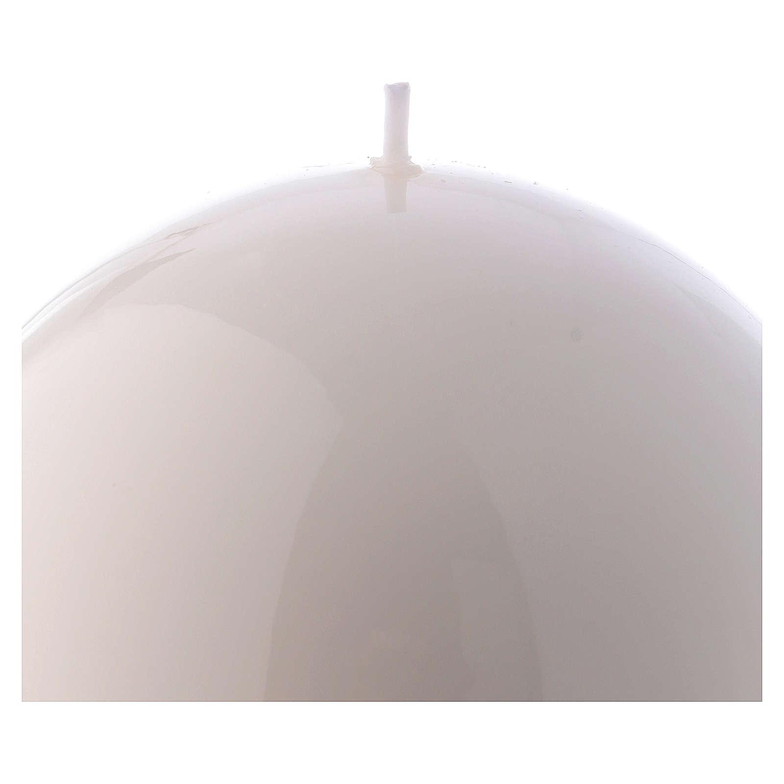 Candela Sfera Lucida Ceralacca d. 12 cm bianca 3